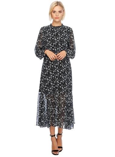 Beymen Studio Çiçekli Uzun Elbise Siyah